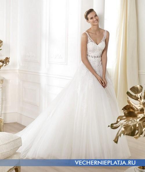 Платье свадебное с ажурными бретелями