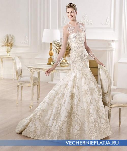 Свадебное кремовое платье с прозрачным верхом фото