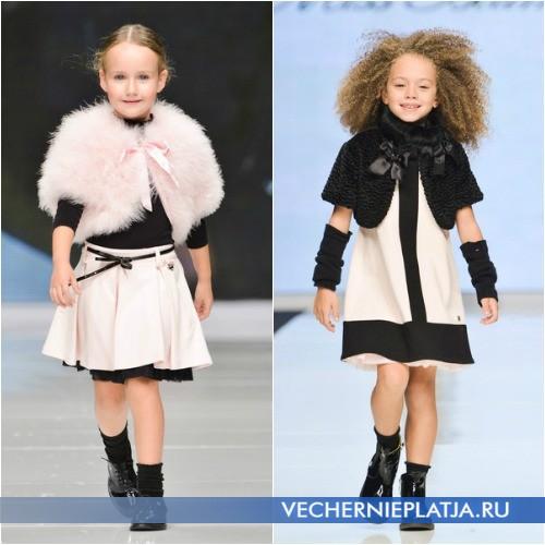 Зимние платья для девочек с меховой накидкой