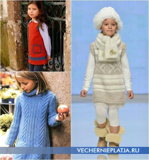 Теплые вязаные платья и сарафаны для девочек фото