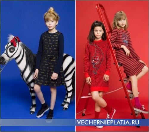 Теплые яркие трикотажные детские платья