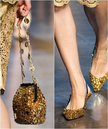 Туфли и клатч к золотистому платью фото