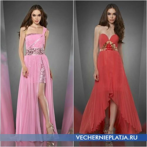Длинные асимметричные платья на выпускной 2014 фото