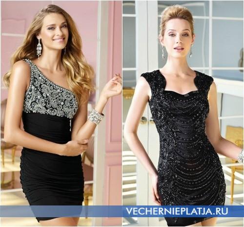 Короткие черные платья с декором на выпускной 2014 года