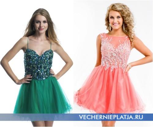 Платья на выпускной фото пышные короткие