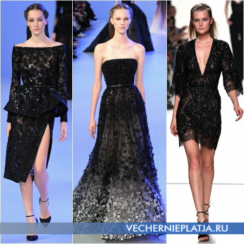 Черные кружевные платья с паетками