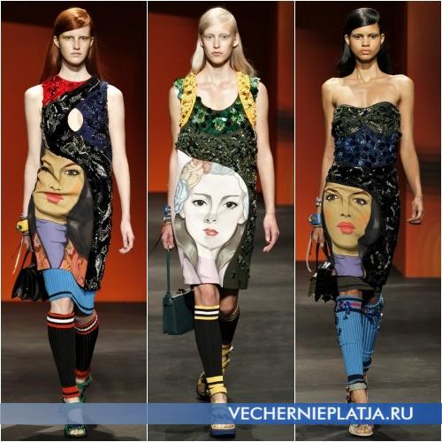 Аппликация из страз на платьях от Prada