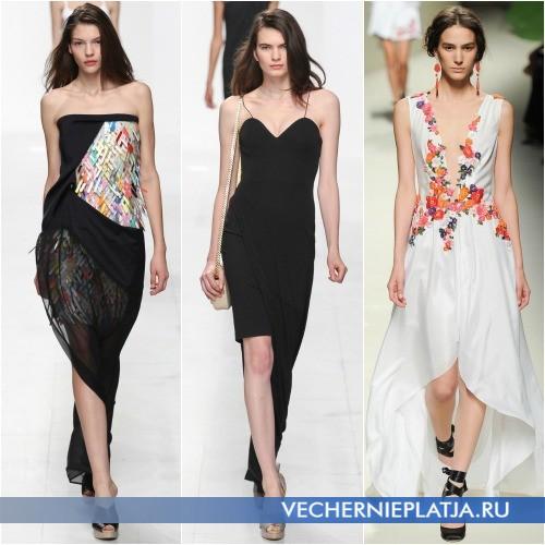 Вечернее асимметричное платье Весна-Лето 2014