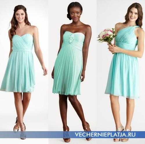 Короткие выпускные платья 2014 мятного цвета фото