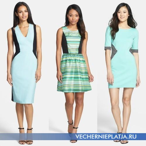 Модные мятные платья с вставками фото