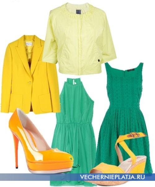 Бирюзовое платье сочетание с желтым