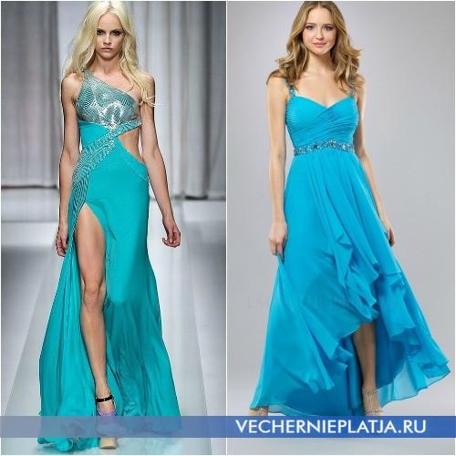 С чем сочетать длинное бирюзовое платье