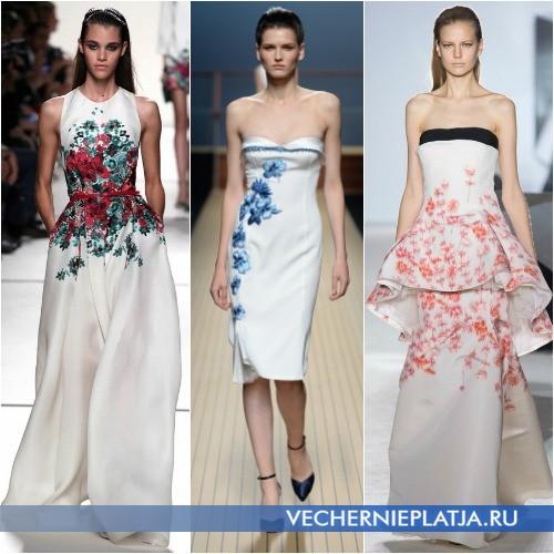 Белые летние платья 2014 с ярким принтом