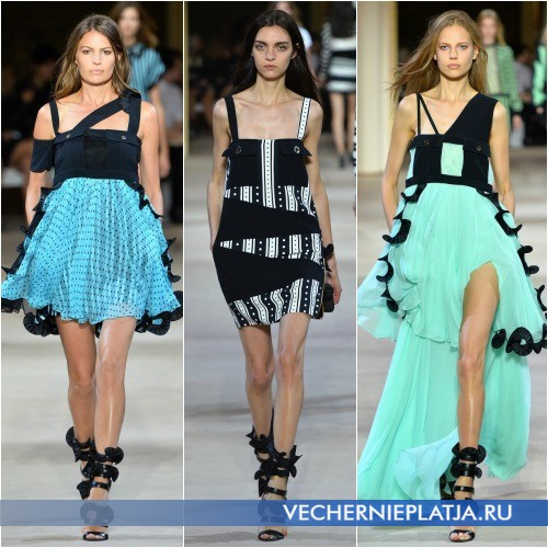 Платья с воланами и рюшами лето 2014