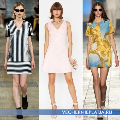 Платья-трапеции с круглыми и треугольными вырезами