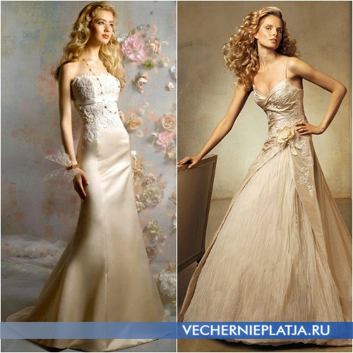 Роскошные свадебные платья цвета шампань фото