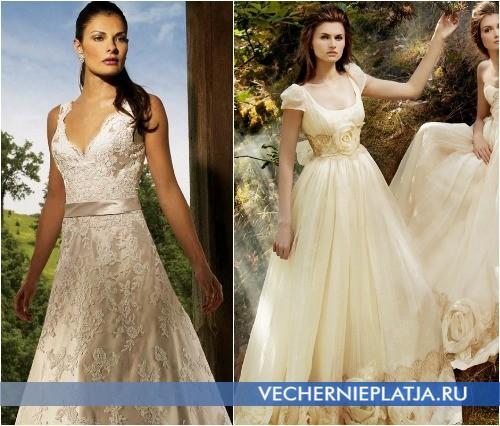 Макияж для свадебного платья цвета шампань