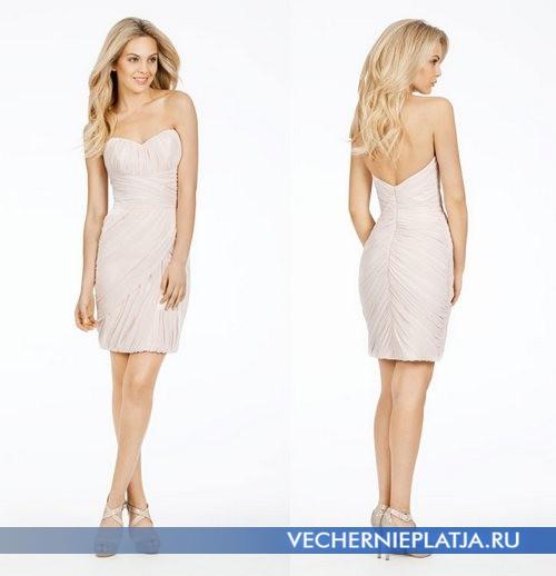Короткое платье с открытой спиной для свидетельницы на свадьбу