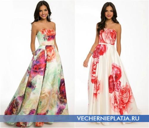Яркие выпускные платья с цветочными узором
