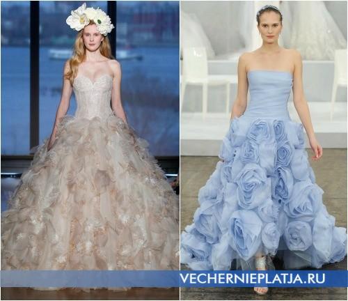 Роскошные свадебные платья романтических оттенков 2015 фото