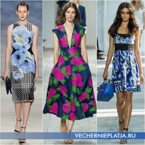 Яркие летние платья 2015 из хлопка с принтом