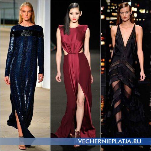 Длинные платья с разрезами и вырезами для Нового года 2016