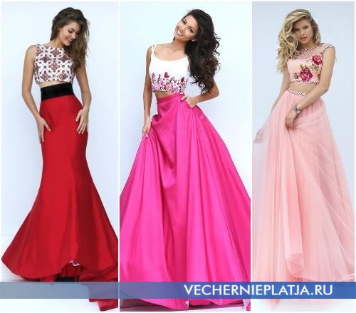 Длинные платья на выпускной с юбкой и топом: новинки 2016 фото