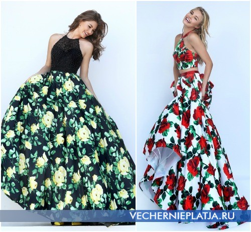 Длинные выпускные платья с розами 2016 фото