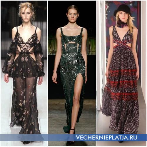 Модели вечерних платьев с вырезами Осень-Зима 2016-2017