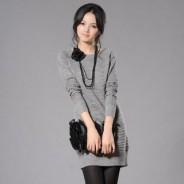 Серое шерстяное платье – лучший вариант на осень 2012